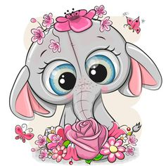 Cute Cartoon Animals, Baby Animals, Cute Animals, Cartoon Elephant, Elephant Art, Kids Cartoon Characters, Cartoon Kids, Pictures To Draw, Cute Pictures