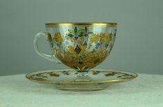 Moser Hand Painted Gilt Enamel Colorful Glass Tea Cup Saucer Set