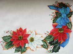 Coisas da Nil - Pintura em tecido: Flores de Natal.