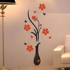 DIY Vase Flower Tree Wall Stickers Decal Home Decor Adesivo De Parede Wallpapers For Livingrooms Kitchen Decorations Wall Stickers Hallway, Kitchen Wall Stickers, Flower Wall Stickers, Wall Stickers Home Decor, Wall Decal, Vinyl Decor, Vinyl Art, 3d Home, 3d Wall
