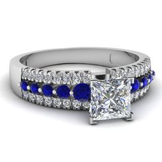white-gold-princess-white-diamond-engagement-wedding-ring-blue-sapphire-in-pave-set-FDENS3014PRRGSABL-NL-WG