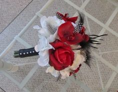 Bridal bouquet with red and white rose and available at www.myfavorsandflowers.Etsy.com $98.00