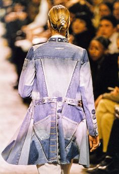 Patchwork denim, a fave so easy to dress up or down! Jean Paul Gaultier Spring 1994 Ready-to-Wear Fashion Show Details Couture Mode, Couture Fashion, Fashion Show, Fashion Online, Jeans Fit, Redone Jeans, Business Casual Jeans, Paul Gaultier Spring, Denim Coat