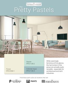 The Pretty Pastels assortment of color harmonies are perfect for applications that call for a soft and soothing spirit. These colors offer a subtle and gentle experience. Pastel Paint Colors, Pastel Palette, Beyond Paint, Trending Paint Colors, Ppg Paint, Professional Painters, Color Harmony, Pretty Pastel, Color Trends