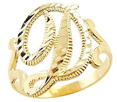 """Size- 12.5 - 14k Yellow Gold Initial Letter Ring """"D"""". 14k yellow gold initial ring. This ring has a dazzling high polish finish. Pure 14k Gold, not plated. Authenticated with a 14k stamp. This ring is absolutely stunning and we are confident you will love it. ."""
