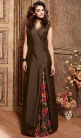 Chocolate Color Shade Satin Printed Designer Suit  #designerlonganarkalidresses #designeranarkalisuitsonline Strut around like a diva, sporting this chocolate color shade satin printed designer suit. Beautified with resham and lace work.  USD $ 107 (Around £ 74 & Euro 81)
