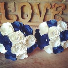 www.flairforfleur.co.uk paper bouquets roses and origami kusudama hand pressed paper lace blue and whites