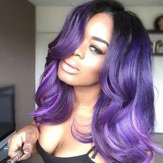 Hair color ideas for purple to lavender ombré