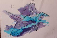 grulla cosmica origámica interestelar acuarelosa :D  #origami #sketch #drawing #foco #mamarracho #boceto