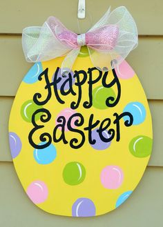 Easter Egg Door Hanger.  Easy to DIY.