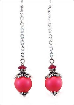 These fun and flirty earrings are made with Swarovski's neon pink pearls combined with assorted TierraCast bead caps. Siam...