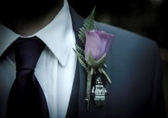 Groom & Groomsman Button  Hole #wedding #buttonhole #superhero #minifigure #BATMAN Wedding Buttonholes, Wedding Themes, Wedding Ideas, Button Holes Wedding, Different Flowers, Gothic Wedding, Wedding Groom, Groomsmen, Color Schemes