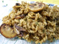 Mushroom Rice With Onion and Shallots - I might try this with a wild rice blend.
