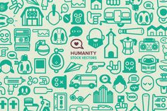 This collection contains 120 EPS Vector files. Humanity is a fun, diverse and huge collection of 120 stock vectors illustrated in a playful style. Full of skulls, word bubbles, machines, radios, people, faces, cameras, toilets and loads more other bits, this a great collection to pick up now and use as you need in all your future projects.