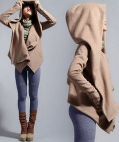 Comfy Weekend Casual! Women's Stylish Pure Color Long Sleeve Hooded Asymmetrical Jacket #Comfy #Weekend #Casual #Draped #Hoodie #Fashion