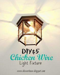 Bless'er House: Thrifted Chicken Wire Light Fixture