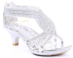 Very similar to Eryn's flower girl shoes.  JJF Shoes Angel-37 Silver Woman Bling Rhinestone Platform Dress Heels Sandals-13. Make your pretty  lady wow the crowd in these dazzling rhinestone high heel shoes! Finished with zipper closure for easy slip on/off. Features: Open toe, light weight, low heel, with dazzling rhinestone ankle strap and slightly padded sole add comfort and easy walking. Features rhinestone overlay twist strap with ankle strap, zipper Closure for easy slip on/off.