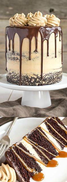 This Chocolate Dulce De Leche Cake from Liv for Cake has the ultimate combination of chocolate and caramel! The rich chocolate cake is layered with silky caramel buttercream and drizzled dulce de leche!