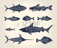 pochoir: Illustration vintage de poissons avec des noms de style de tatouage sur fond blanc