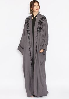 Shop grey Embroidered Detailed Abaya from Hayas Closet grey at Namshi.com - Women  in Saudi