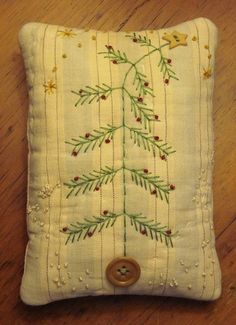 Primitive Small Folk Art Fabric Art Christmas Tree Pillow Quilted Handstitched | eBay