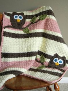 Owl Baby Blanket Girl Baby Shower Gift by rosanne