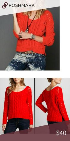 NWT Free People Fluff Wildfire Chunky Sweater. S M New with tags and no defects. Wool blend.  Style name: Fluff.  Manufacturer color: wildfire. Color is an reddish orange. Free People Sweaters Crew & Scoop Necks