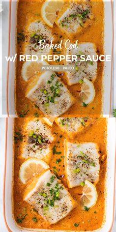 Baked Cod A Healthy Baked Cod Recipe Baked In A Creamy Roasted Red Pepper Sauce Learn How To Make Your Own Roasted Red Peppers And Make A Dreamy Dairy Free Sauce Sunkissedkitchen Com Sunkissedkitchen Bakedcod Seafood Baked Easy Recipe Video Cod Fish Recipes, Best Seafood Recipes, Healthiest Seafood, Salmon Recipes, Healthy Meals To Cook, Healthy Baking, Healthy Recipes, Dinner Healthy, Paprika Pesto