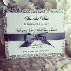 Silver ribbon & glitter save the date great for weddings, sweet sixteens, birthdays, engagements parties, and other events. on Etsy, $2.49