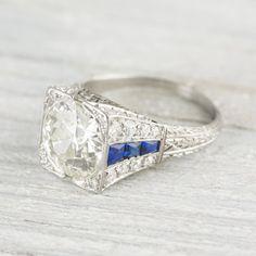 3.05 Carat Vintage Art Deco Diamond & Sapphire Engagement Ring | Erstwhile Jewelry Co.