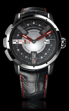 Cristophe Claret Poker - An ultimate casino lover gadget. Play poker on one side and roulette on the other against your watch Men's Watches, Dream Watches, Fine Watches, Luxury Watches, Cool Watches, Fashion Watches, Watches For Men, Latest Watches, Black Watches