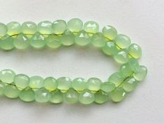 Apple Green Chalcedony Faceted Heart Beads Green by gemsforjewels