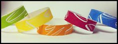 "All the New Vibrant Colors for 3/4"" Ribbon Wave tyvek Wristbands"