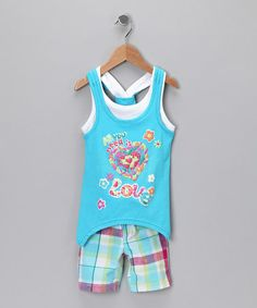 Take a look at this Blue Heart Sidetail Tank & Shorts - Toddler & Girls by Nannette on #zulily today!