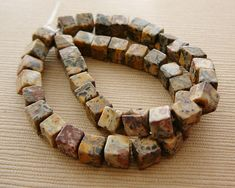 Gemstone Beads, Jasper Cubes, 4mm Brown Beige half strand