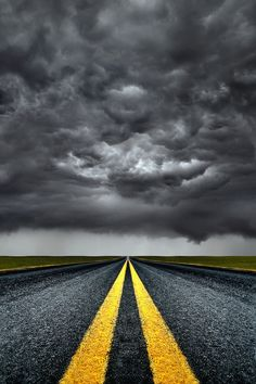 ~~Trouble Ahead | stormy skies loom ahead on the road |  by Carlos Gotay~~
