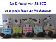 De 5 fasen van de zelfinstructie-model van Meichenbaum, zoals gegeven inde training van StiBCO.
