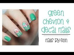 Green Chevron and Decal Nails #TUTORIAL #Greenmani #nailart - bellashoot.com