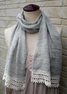 Scarves with Crochet Edgings | crochet edging linen scarf | Embroidery/sewing/crochet | Pinterest