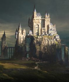 Castle Town by artist Jordan Grimmer. Fantasy City, Fantasy Castle, World Of Fantasy, Fantasy Map, Fantasy Places, High Fantasy, Fantasy Artwork, Dungeons And Dragons, Castle Illustration