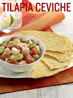 This fresh and light Tilapia Ceviche is a Central American recipe that combines tilapia with tomatoes, avocados, red onion, cilantro and lime juice. Enjoy this seafood delight, tonight!