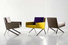 Arm chair, THEO.      座面の後ろで支持されたスチールフレームが印象的なこちらは、2012年のイタリア・ミラノで開催される家具展示会、ミラノサローネ国際...