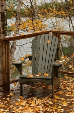 Something about an Adirondack chair on a deck with autumn leaves. Autumn Day, Autumn Leaves, Winter, Autumn Song, Autumn Girl, Golden Leaves, Autumn Summer, Spring, Adirondack Chairs