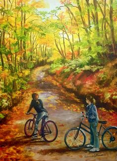 Resting Awhile by Carole Powell Bicycle Painting, Bicycle Art, Bike Friday, Nature Photos, Art Nature, Drawings Of Friends, Coloured Pencils, Fall Pictures, Oil On Canvas