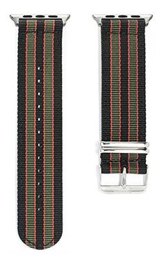 Apple Watch NATO Band - Black, Green & Red Woven Nylon Band (38mm Silver). The original NATO strap designed for your smartwatch: Apple Watch, Android Wear & Pebble. Woven, double layered and heat sealed ballistic nylon - it comes with a Lifetime Warranty. Patent Pending design using quick-release pins.