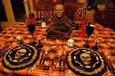 Spooky Halloween Table and Halloween Mantel