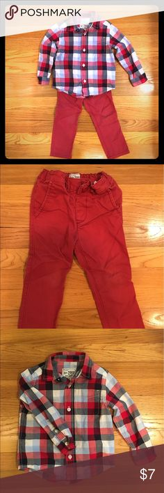Children's Place boys button down and khakis Boys size 2t button down shirt and red khakis. Pants have minor wear at the knee, but not a lot and no holes. Children's Place Matching Sets