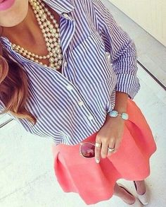 Striped button-down shirt, pink skirt, pearl statement necklace