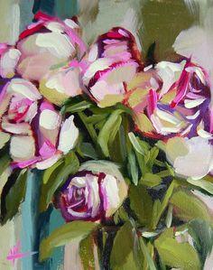 Blushing Roses no. 10 original floral rose oil painting by Angela Moulton  prattcreekart