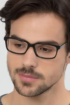 971f5f529425f Black Gray Rectangle Prescription Eyeglasses-Medium Full-Rim Acetate Eyewear -Denny